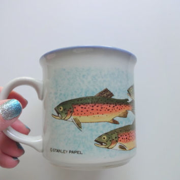 Vintage Otagiri Rainbow Trout Coffee Mug 1980s