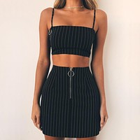 Hot new black and white stripe slim sexy front zipper skirt