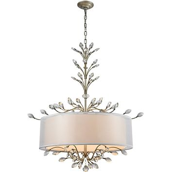 """32""""W Asbury 6-Light LED Chandelier Aged Silver"""