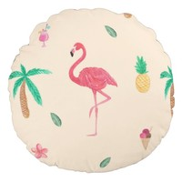 Flamingos in the Summer Round Pillow
