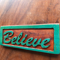Believe Wooden Carved Wood Letters Rectangle Green Walnut Inspirational Sign lcww