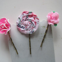 Flower Bobby pins, Decorated Bobby Pins, Pink Bobby Pins