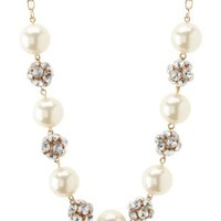 Rhinestone & Pearl Statement Necklace by Charlotte Russe - Gold