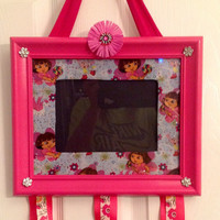Dora the explorer Boots picture frame hairbow holder jewelry accessory photo organizer bulletin memo memory board pink blue room decor