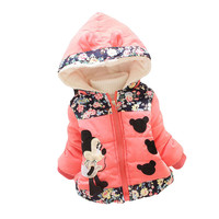 Free shipping New Children'S Winter Outerwear Girls Cartoon Coat Baby Plus Thick Wool Cotton Jacket