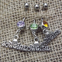 silver cowgirl belly button ring, country jewelry, redneck, wedding gift, camo hunter jewelry, pistol belly button ring, cowgirl jewelry