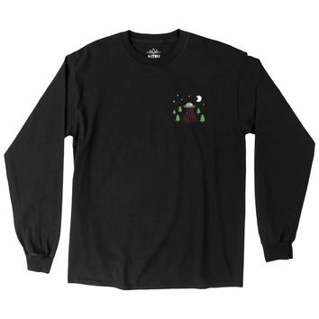 UFO VISIT, black graphic Long Sleeve tee by Altru Apparel