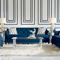 Sofia Vergara Monaco Court Navy 7 Pc Living Room - Living Room Sets (Blue)