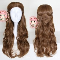 Beauty and the Beast Belle Wig Cosplay  Princess Halloween Role Play Lady Brown Curly Hair Bun