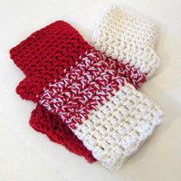 Red and white crochet armwarmers, luxury fingerless mittens, colorblock fingerless gloves, valentine's day gift