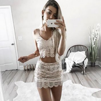 Gold sequins  condole belt skirt two-piece outfit