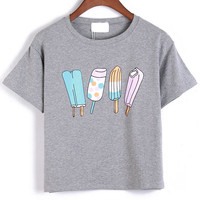 Popsicle Printed Grey Crop Top