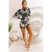For The Love Of Flowers Floral Two Piece Set (Charcoal)