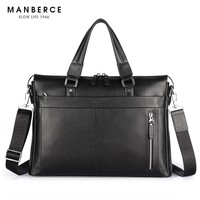 Fashion Genuine Leather Famous Brand Men Briefcase, 15.6 inch Laptop