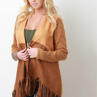 Knit And Suede Fringe Cardigan