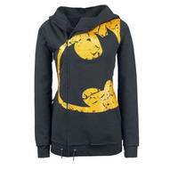 Women Specil Yellow Print Zipper Sweatshirt Hoodies Tops Plus Size