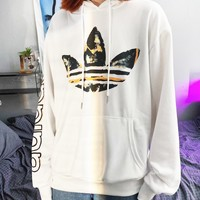 ADIDAS Fashion Women Men Casual Print Long Sleeve Hooded Sweater Sweatshirt