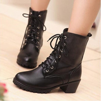 British Style Simple Short Lace Up Martin Boots