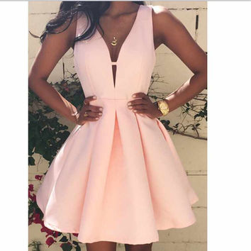 Women Sexy V Neck Sleeveless Bodycon Dress Vestido Slim Prom Short Mini Dress Plus Size