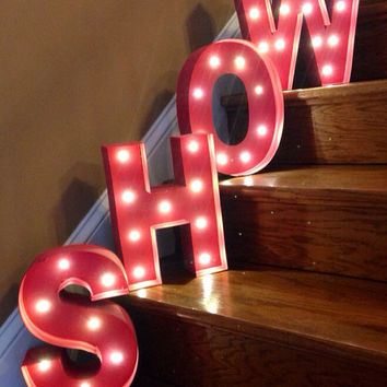 """Battery Operated LED Painted Marquee Letters- this listing is for 1- 12"""" tall letters"""