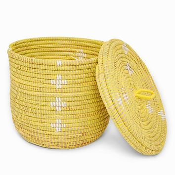 Small Yellow Basket with Lid