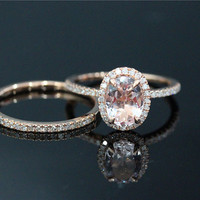 2 Pcs 6x8mm Morganite Ring Set  and 14k Rose Gold Diamond Wedding Band  Wedding Ring Set Engagement Ring Anniversary Ring