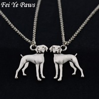 Vintage Silver Stainless Steel Long Chains Vizsla Gothic Love Pendant Necklace Dogs Statement Necklaces For Women Men Jewelry