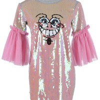 Anna-Kaci S/M Fit Pink and Grey Sheer Bell Sleeve Sequined Sponge Cartoon Dress