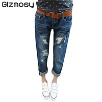 2017 New Denim Women Ripped Jeans For Girls Skinny Blue Jeans Woman Elastic Loose Holes Jean Female Boyfriend Casual Jeans SY039