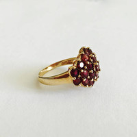 Multi-Stone Sterling Silver with Vermeil Finish , Red Garnet Prong Set Cluster Ring, January Birthstone Ring