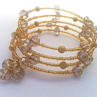 Gold Wrap Bracelet // Sparkly Gold Memory Wire Wrap Bracelet // Gold Bracelet