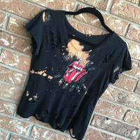 THE ROLLING STONES bleached, distressed, band concert T  shirt, hard rock, rock n roll
