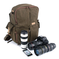 Mens Canvas Backpack Laptop Camera Bag