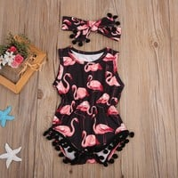Flamingo Romper Summer 2Pcs Clothing Set Baby Summer Clothing With Headband Baby Body suit Girls Newborn Infant Sleeveless