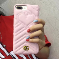 Gucci Fashion cortical silica gel phone case loving heart iPhone 6 s mobile phone shell iPhone 7 plus shell