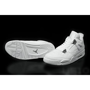 Air Jordan Retro 4 Basketball Shoes Mens Womens Pure Money White Silver 2017 Cheap Traniers Sneakers For Sale Size 36-47 With Box