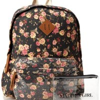 Steve Madden Bskoolll Backpack,Black Floral,One Size