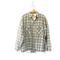 Vintage Plaid Flannel Jacket / Grunge Shirt / green Button up insulated shirt with fleece lining