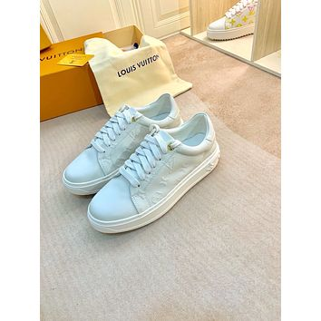 2021 LV Louis Vuitton Women Leather low Top Sneakers Shoes WHITE