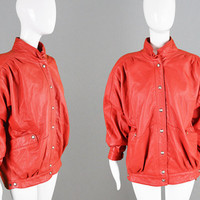 Vintage 80s Red Leather Jacket Womens Leather Coat Women Red Jacket Oversized Bomber Red Leather Bomber Embossed Leather 1980s Grunge Jacket
