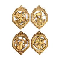 Victorian Gold Music Wall Hanging Plaques by Homco / Dart (Set of 4) - Elegant Classical Styling, Instruments - Vintage Home Decor