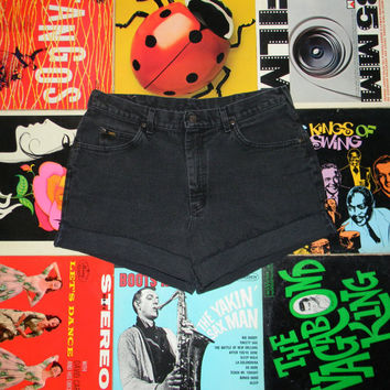 Vintage Denim Shorts, 80s LEE High Waisted Stone Washed Black Jean Cut Offs - Cut Off, Frayed, Rolled Up, PLUS Size 14, ooak, Plus Sized XL