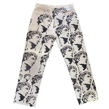 Men's Trousers Loose Grinding White Water Washing Straight Tube Tie-dyed Jeans