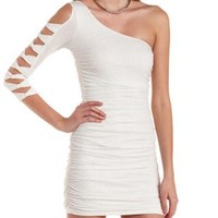 White One Shoulder Glitter Bodycon Dress by Charlotte Russe