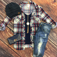 Penny Plaid Flannel Top: Cream/Blue