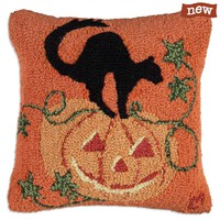 "Pumpkin Cat 18"" Hooked Wool Pillow"