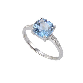 Sterling Silver .01ct Genuine Diamond Ring with Square 8mm Blue Topaz