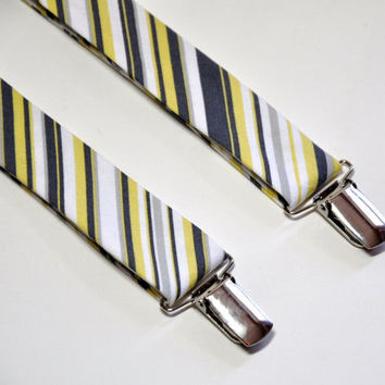 Yellow and Gray Striped Suspenders for Men Boys by MeandMatilda