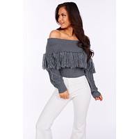 It's No Hassle Tassel Sweater (Gray)