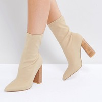 Public Desire Libby Nude High Heeled Sock Boots at asos.com
